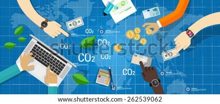 carbon emission trading - stock vector