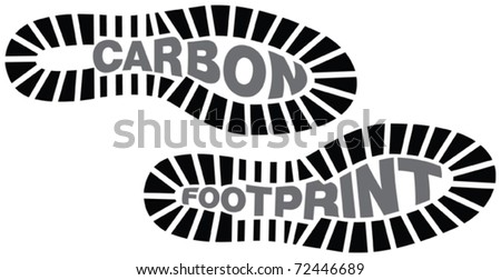 Carbon footprint, footprints with the words carbon footprint incorporated - stock vector