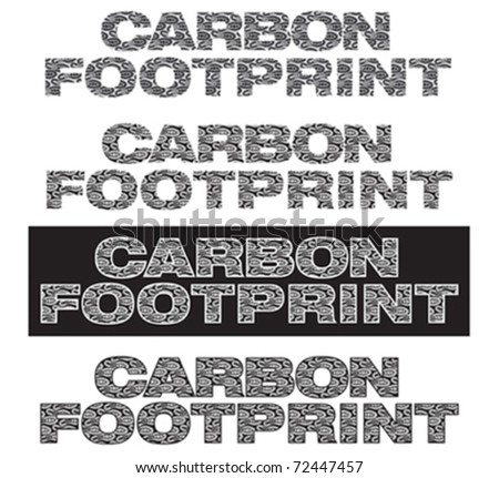 Carbon footprint lettering with footprints inside - stock vector