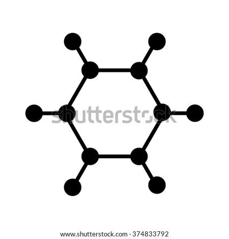 Carbon molecule flat icon vector - stock vector