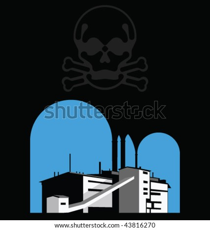 Carbon reduction warning with polluting factory and skull - stock vector