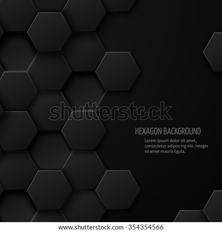 Carbon technology abstract background with space for text. Hexagon pattern geometric cover, vector illustration - stock vector