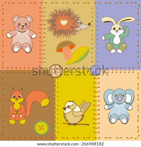 Card application with collection of funny cartoon animals.Patchwork. - stock vector