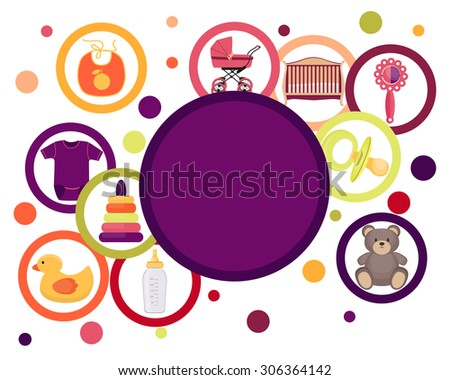Card baby accessories and toys isolated on white background. Vector illustration - stock vector