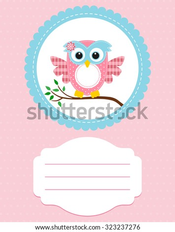 card baby pink owl on a branch - stock vector