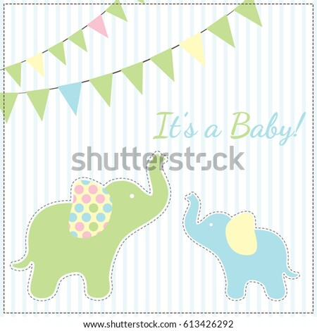 Card Baby Shower with elephants