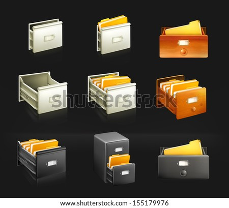 Card catalog, set of vector icons - stock vector