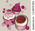Card design. Cupcakes background. - stock vector