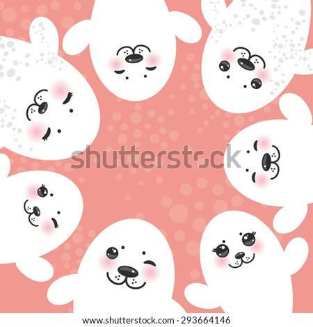 card design Funny white fur seal pups, cute winking seals with pink cheeks and big eyes. Kawaii albino animals on pink background. Vector  - stock vector