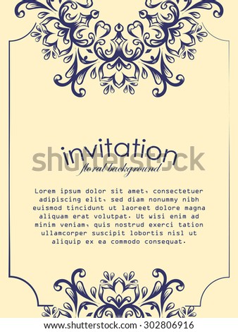 Card design template. Can be used for invitation, menu, ottoman, card design, for pillow design, banners, signs and others.