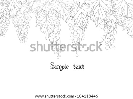 card design with bunch of grapes and place for text - stock vector