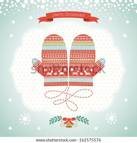Card design with Christmas mittens  - stock vector
