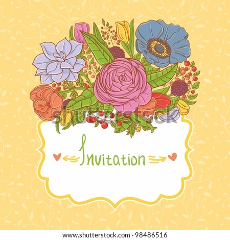 Card design with flowers - stock vector