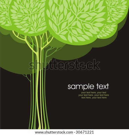 card design with stylized trees and text - stock vector