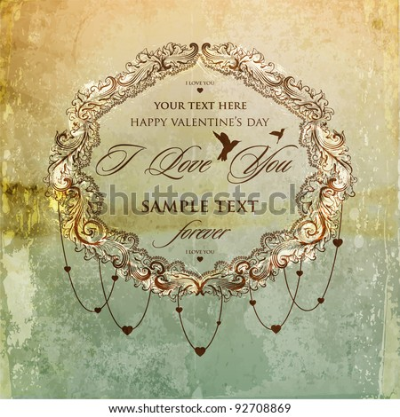 card design with vintage background for Valentines day design - stock vector