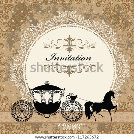 card design with vintage carriage - stock vector