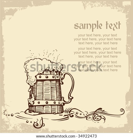 card design with woody beer mug and place for text - stock vector