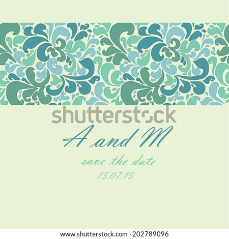 card floral ornament wedding(yellow-blue-green)