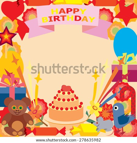 Card for birthday greetings. - stock vector