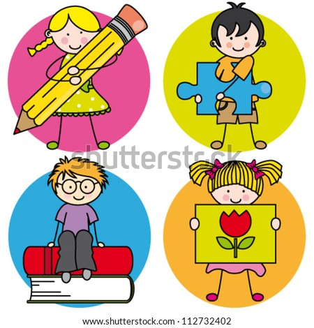 Card for education. Learning to write, draw, read, and play - stock vector