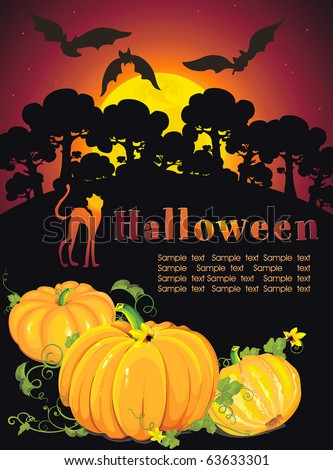 Card for Halloween Congratulations with pumpkin and bats. Vector framework for invitations. - stock vector