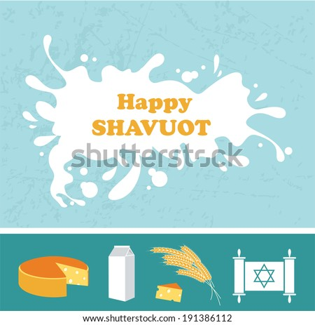 Card for Shavuot Jewish holiday with a splash of milk. Vector illustration.  - stock vector