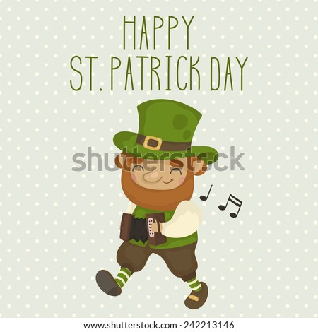 Card for St. Patrick's Day with a cheerful Leprechaun. Vector illustration - stock vector