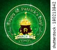 Card for St. Patrick's Day with text and pot with golden coins - stock