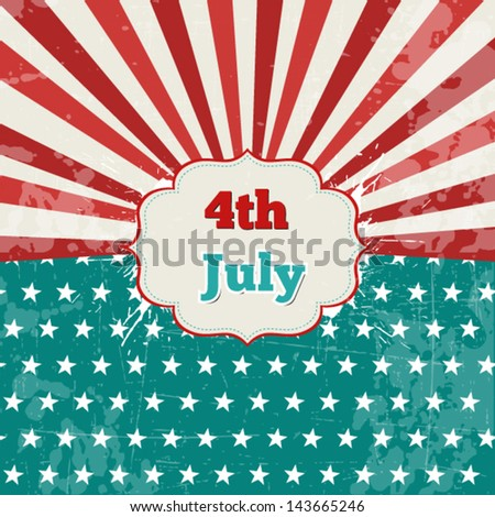 Card for 4th of July with stars,lines and splashes - stock vector