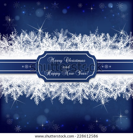 Card for the winter holidays with snowy fir branches, snowflakes, lights, ribbon and place for text. Illustration for Christmas and New Year design. - stock vector