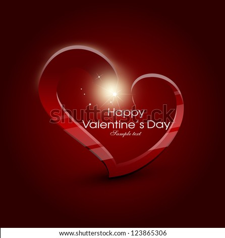card for valentine day with heart, love, bokeh - stock vector