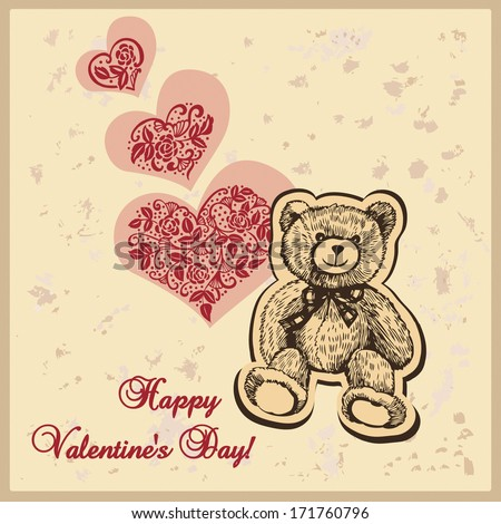 Card for Valentine's Day with hearts and teddy bear.  Illustration for greeting cards, invitations, and other printing and web projects. - stock vector