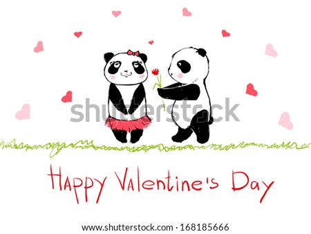 card for Valentine's Day with pandas - stock vector