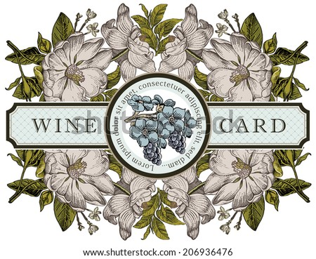 Card greeting wine. Beautiful white baroque blooming flowers. Vintage Invitation. Frame. Drawing, engraving. Freehand. Brier, dog-rose, rosehip, grape. Flora. Vector victorian style Illustration.
