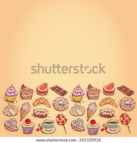 Card Hand drawn confectionery set croissant Cupcake candy marshmallow ice cream cake donut and coffee. vector - stock vector