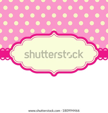 Card invitation vector template for baby shower, wedding or birthday party with stripes. Cute background with white space to put your own text.  - stock vector