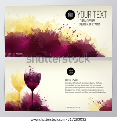 Card, leaflet or banner background with colorful spots and wine. Illustration glass of wine. Expressive design background. vector - stock vector