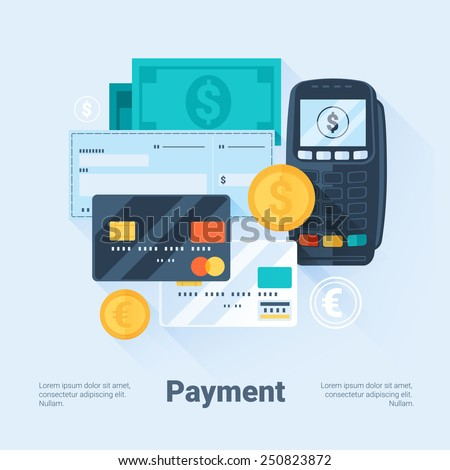 Card, Money, Coins and Cheque. Payment Methods Concept. Flat Style with Long Shadows. Clean Design. Vector Illustration. - stock vector