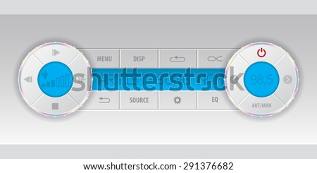 Card mp3 player dashboard with blue lcd - stock vector