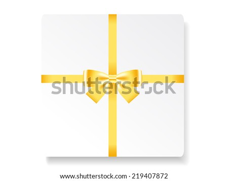 Card note with gold bow and two ribbons. Vector illustration - stock vector