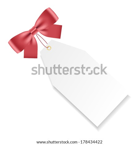 Card note with red gift bow. Vector illustration - stock vector