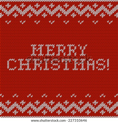 Card of Merry Christmas 2015 with knitted texture. Vector retro vintage background. Happy New Year. - stock vector