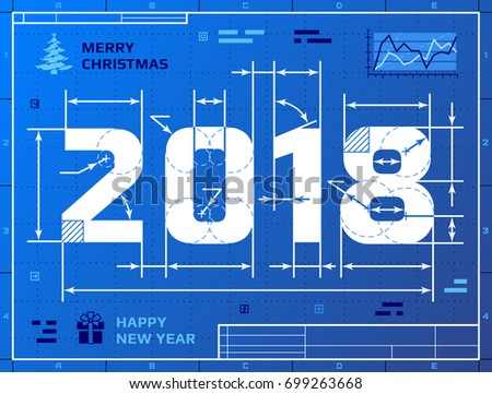 Card new year 2018 blueprint drawing stock vector hd royalty free card new year 2018 blueprint drawing stock vector hd royalty free 699263668 shutterstock malvernweather Gallery