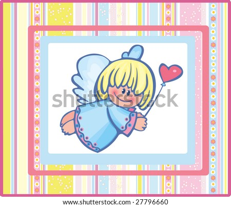 Card of pretty angel. - stock vector