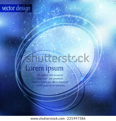 Card or invitation background with magic blue blurry cosmic texture and falling snow lighting effect. - stock vector