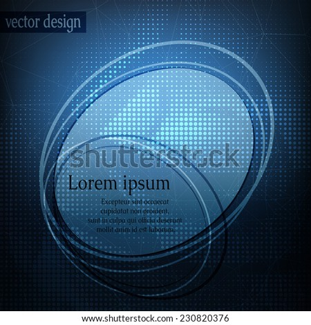 Card or invitation template with abstract geometric shape on blue blurry background. - stock vector