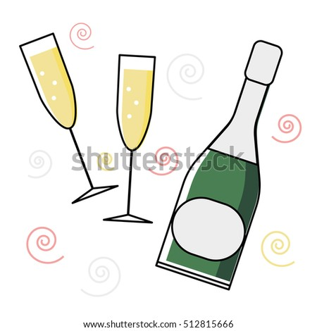 card or poster design with minimalistic line flat champagne bottle and glasses. Vector illustration.