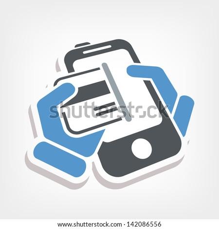 Card phone icon - stock vector