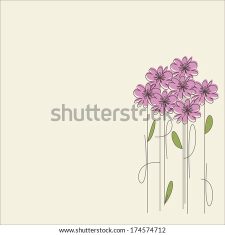 Card pink flowers