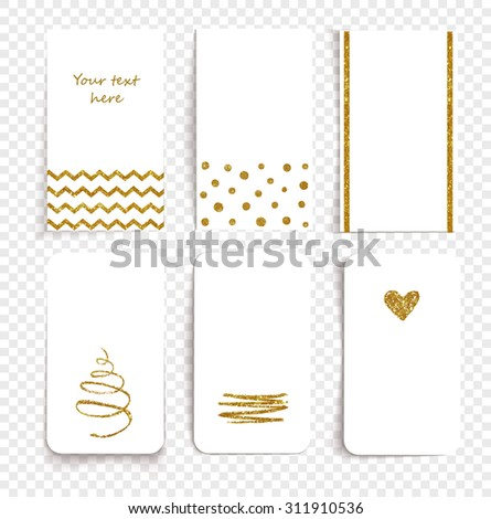 Card set with transparent shadows and golden decorations.  Vector illustration.